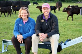 Sarah Fuhrmann and Terry Smythe on the road with the cows in Vermont