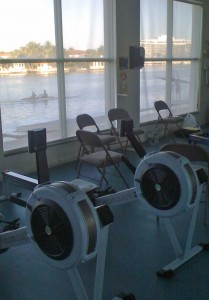 Rowing machines and rowing shells at Miami Beach Rowing Club