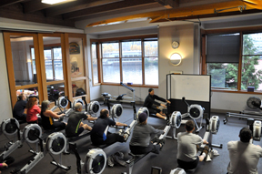 Future indoor rowing instructors in action at Seattle's Pocock Center