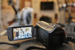 Video camera on rowing machine