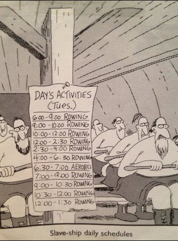 Slave ship daily schedules cartoon