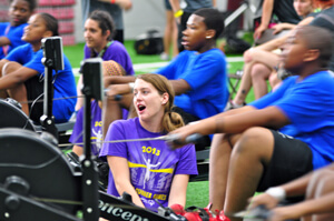 Special Olympics athletes start their rowing race