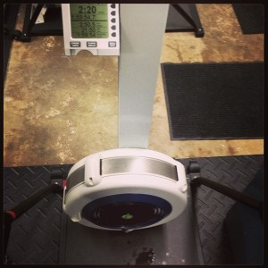 The aftermath of a half marathon on the Concept2 ski erg
