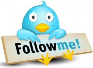 Twitter logo with follow me