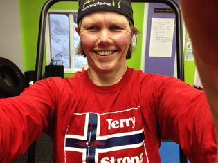 Terry Smythe looking Terry Strong after her first post-surgery workout