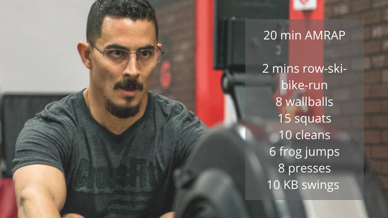 Interval Workout of the Day: Burn fat and build strength fast with this AMRAP (as many rounds as possible) workout. Adjust your weights as needed to keep yourself challenged, but also working hard to squeeze out the last couple of reps of each exercise. If your form fails, put the weight down and take a quick break until you feel ready to go again. #rowingmachineworkout #crossfitworkoutsforbeginners rowermachineworkout #intervalworkout #skiergworkout