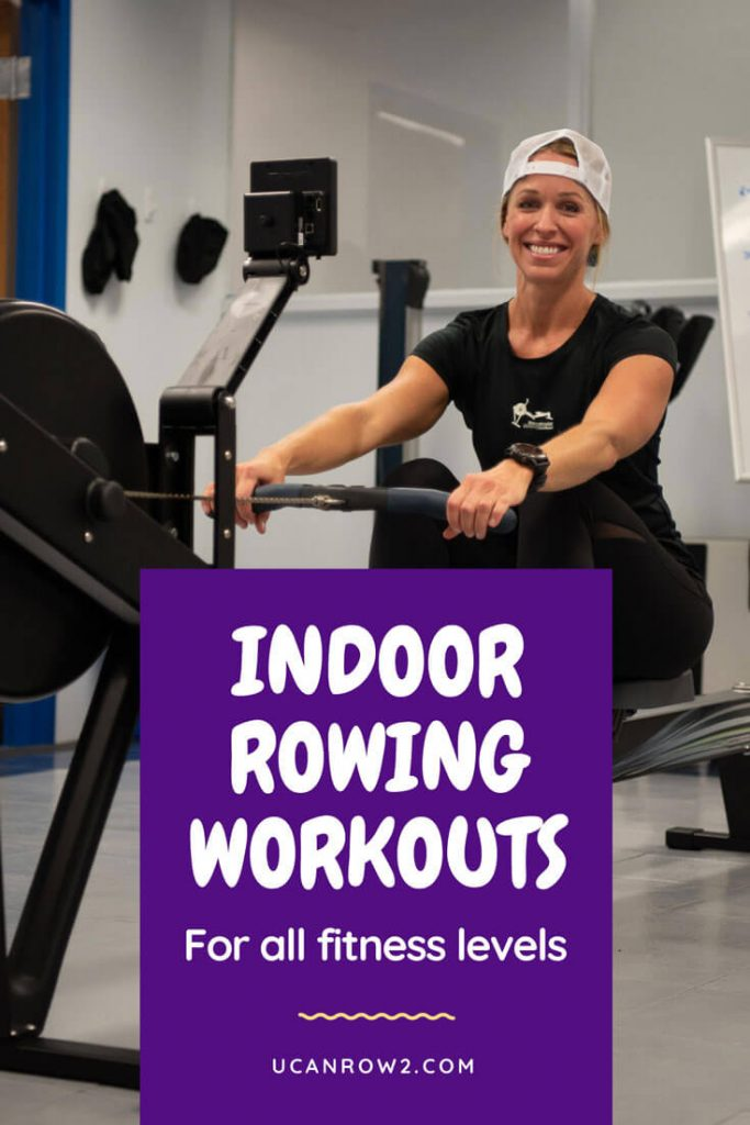 A women smiling because she loves to row in the rowing machine.