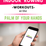 Indoor rowing workouts at the palm of you hands. A person holding a cellphone with his hand with UCanRow2 logo.