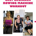Three beginners warm up on a rowing machine