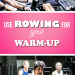 a group of people using Concept 2's rowing machine for their warmp up then workout.