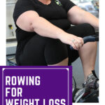 A fat woeman using indoor rowing to lose weight