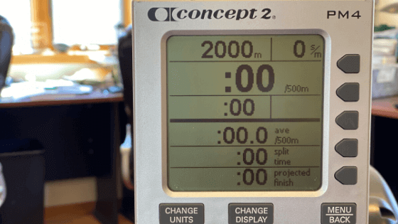 A rowing machine monitor set for a 2000 meter race