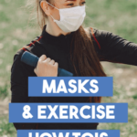 a woman lifting dumbells while wearing a mask to stay fit.