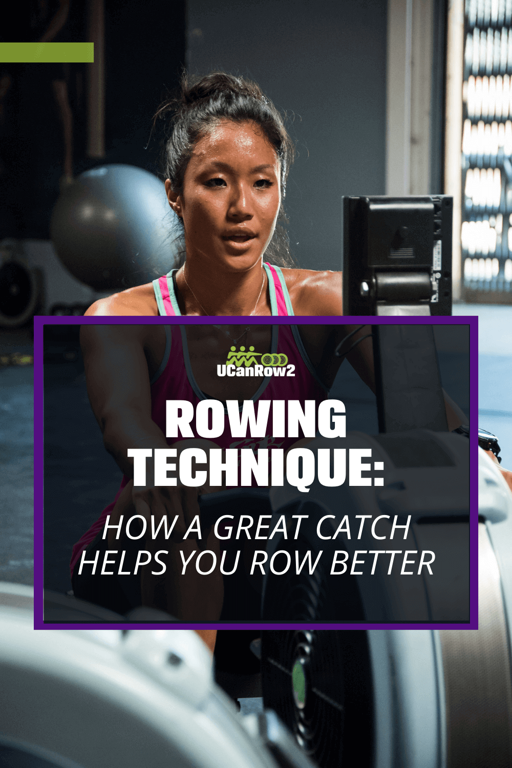 a woman sweating because she is doing indoor rowing
