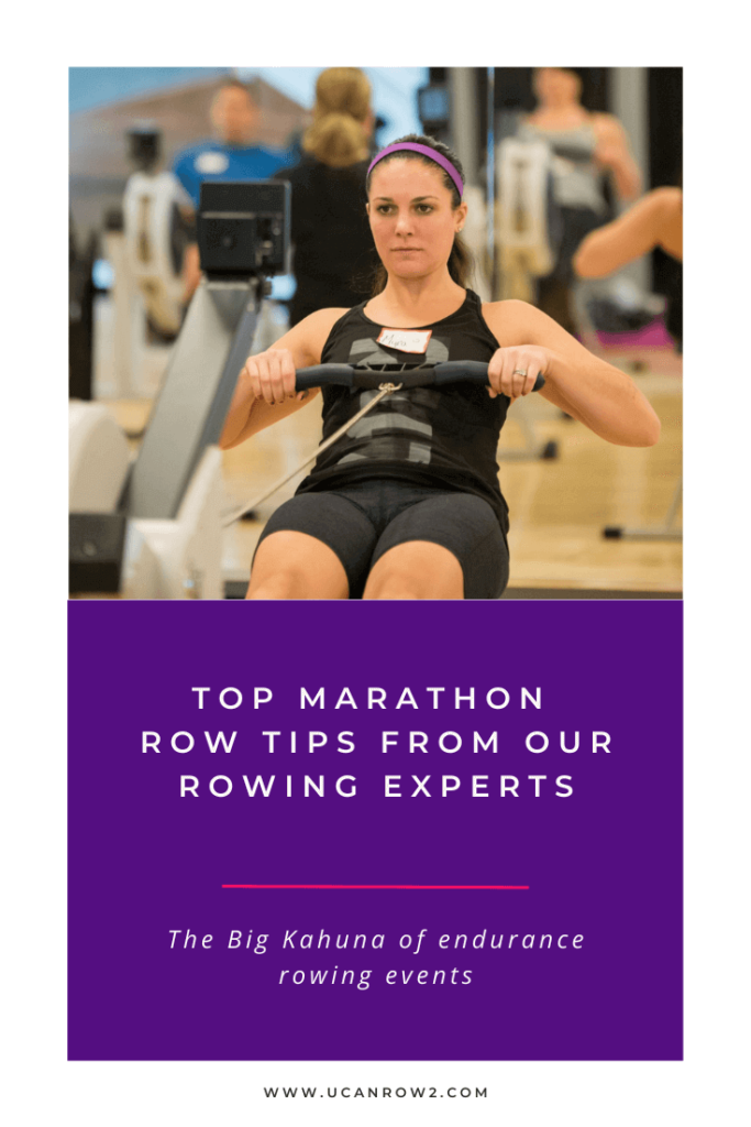"Woman on a rowing machine, text says ""Top marathon row tips for our rowing experts"